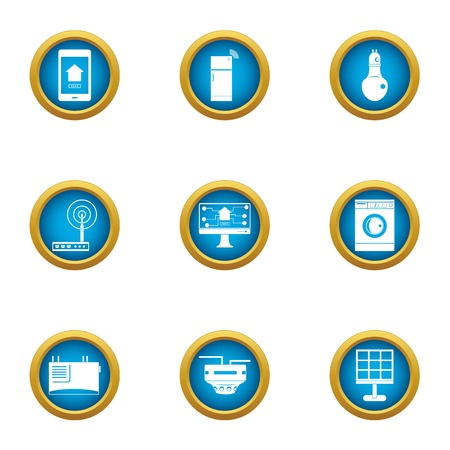 Access point icons set. Flat set of 9 access point vector icons for web isolated on white background