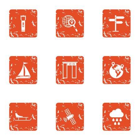 Satellite weather icons set, grunge style