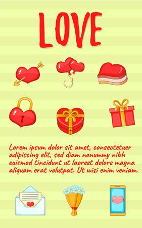 Love postcard background concept. Cartoon postcard of love vector background concept for web, giftcard and postcard