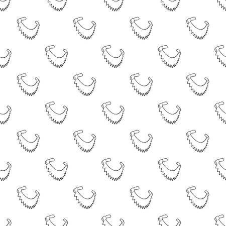 Saw with two handles icon in outline style isolated on white background. Felling symbol