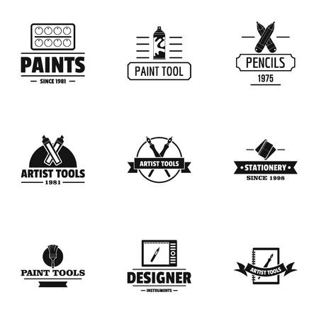 Decorator logo set, simple style Stock Illustratie