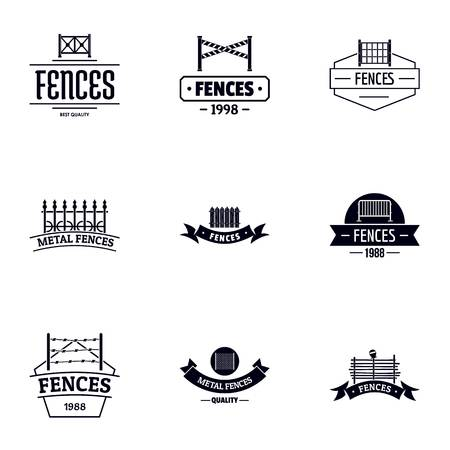 Fence protection logo set, simple style