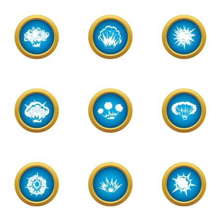 Bursting icons set, flat style Çizim