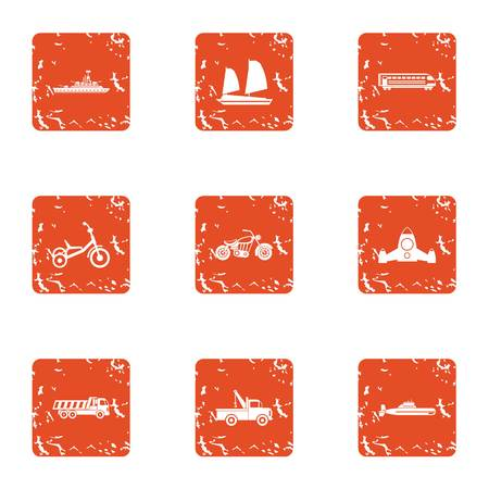 Car tech icons set. Grunge set of 9 car tech vector icons for web isolated on white background Çizim
