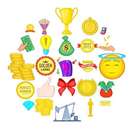 Winning success icons set. Cartoon set of 25 winning success vector icons for web isolated on white background