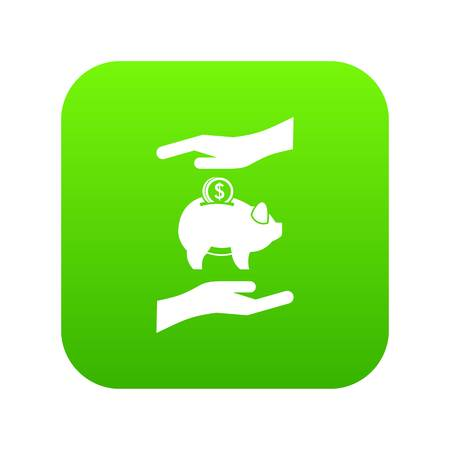 Piggy bank and hands icon digital green for any design isolated on white vector illustration