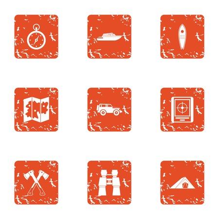 Coastal swimming icons set. Grunge set of 9 coastal swimming vector icons for web isolated on white background