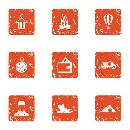 Nation rest icons set. Grunge set of 9 nation rest vector icons for web isolated on white background