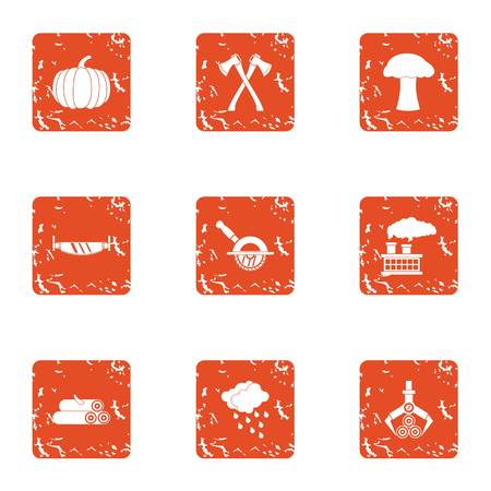Billet icons set. Grunge set of 9 billet vector icons for web isolated on white background