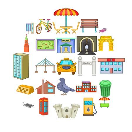Metropolis icons set. Cartoon set of 25 metropolis vector icons for web isolated on white background Ilustración de vector