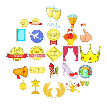 Success in everything icons set. Cartoon set of 25 success in everything vector icons for web isolated on white background