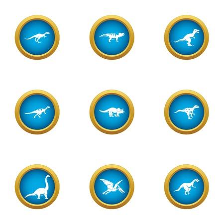 Dinotopia icons set, flat style