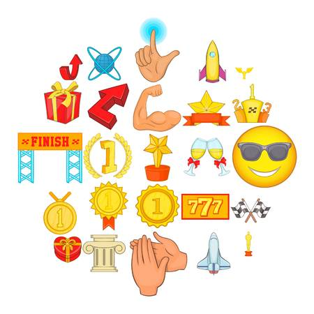 Complete success icons set. Cartoon set of 25 complete success vector icons for web isolated on white background