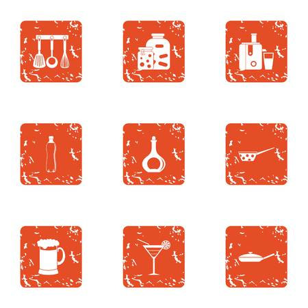 Village food icons set. Grunge set of 9 village food vector icons for web isolated on white background
