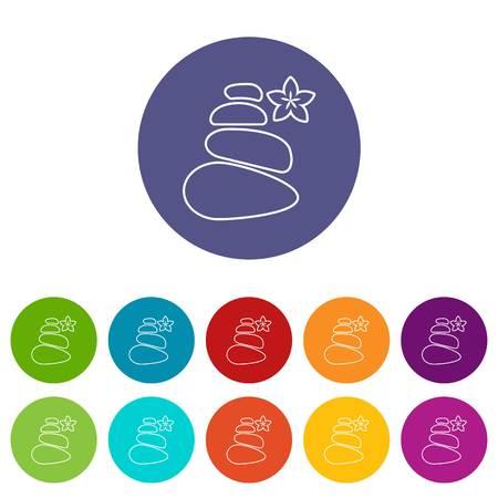 Spa balance stones icons set vector color