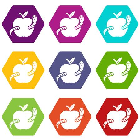 Worm apple icons 9 set coloful isolated on white for web