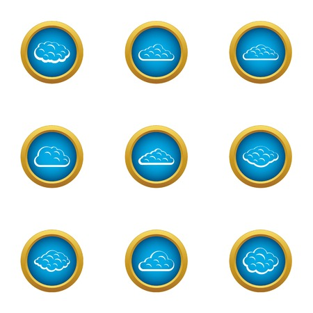 Heavenly cloud icons set. Flat set of 9 heavenly cloud vector icons for web isolated on white background Stock Illustratie