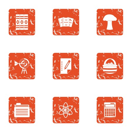 Handling icons set. Grunge set of 9 handling vector icons for web isolated on white background  イラスト・ベクター素材