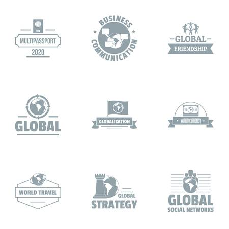 Global businessman logo set, simple style