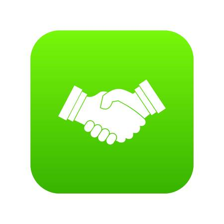 Business handshake icon digital green for any design isolated on white vector illustration Ilustrace