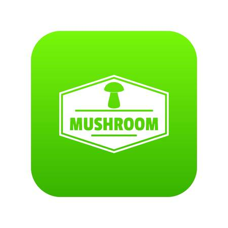 Mushroom healthy icon green vector
