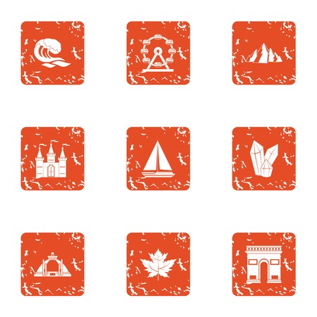 Billow water icons set. Grunge set of 9 billow water vector icons for web isolated on white background Çizim