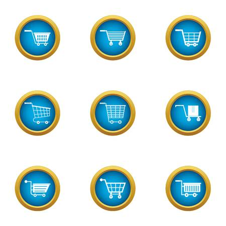 Cart icons set. Flat set of 9 cart vector icons for web isolated on white background