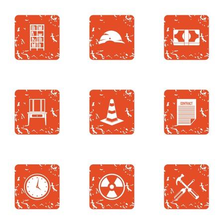 Radiation icons set. Grunge set of 9 radiation vector icons for web isolated on white background