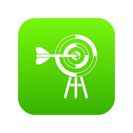 Target with an arrow icon digital green for any design isolated on white vector illustration