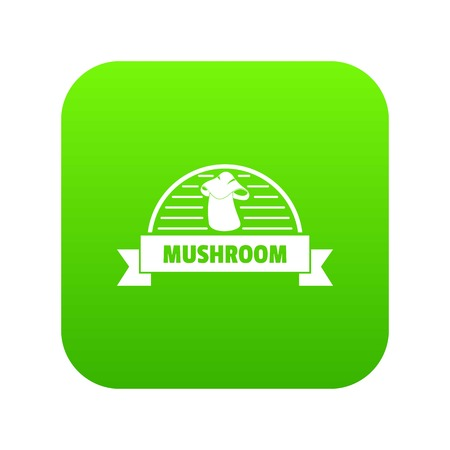 Mushroom cooking icon green vector