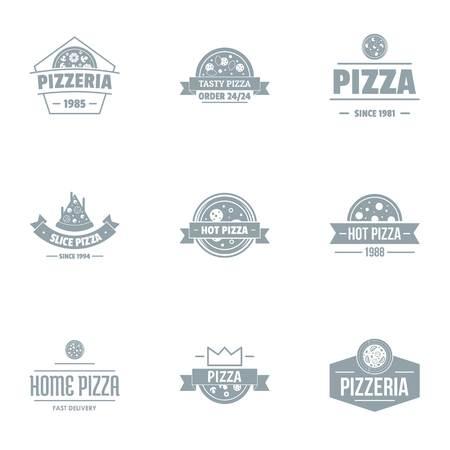 Pizza pie logo set, simple style