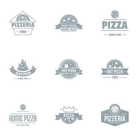 Pizza pie logo set, simple style