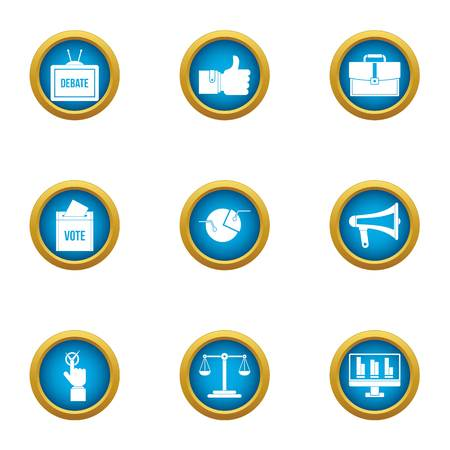Electorate icons set. Flat set of 9 electorate vector icons for web isolated on white background