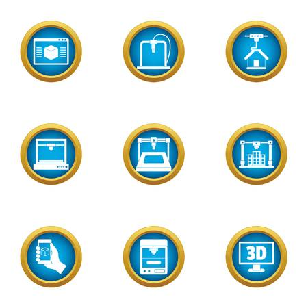 Telescreen icons set. Flat set of 9 telescreen vector icons for web isolated on white background