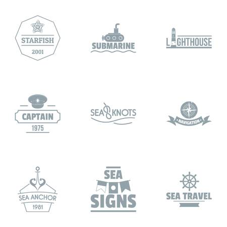 Seaside logo set, simple style