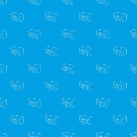 School building pattern vector seamless blue