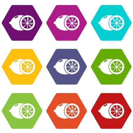 Lemon icons 9 set coloful isolated on white for web