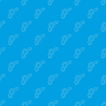 Male and female symbols pattern vector seamless blue