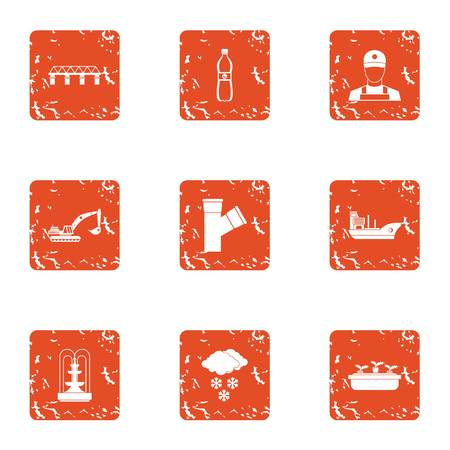 Bring water icons set. Grunge set of 9 bring water vector icons for web isolated on white background
