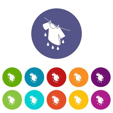 Shirt drying icons color set vector for any web design on white background Ilustrace