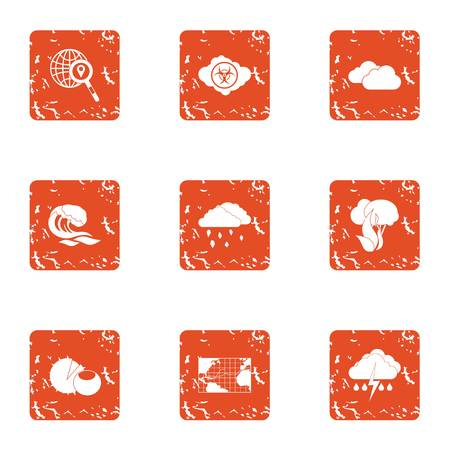Rainfall icons set. Grunge set of 9 rainfall vector icons for web isolated on white background Stock Illustratie