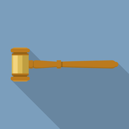 Legal judge gavel icon. Flat illustration of legal judge gavel vector icon for web design
