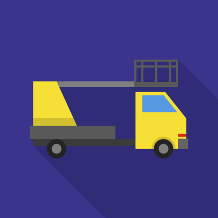 Crane lift truck icon. Flat illustration of crane lift truck vector icon for web design