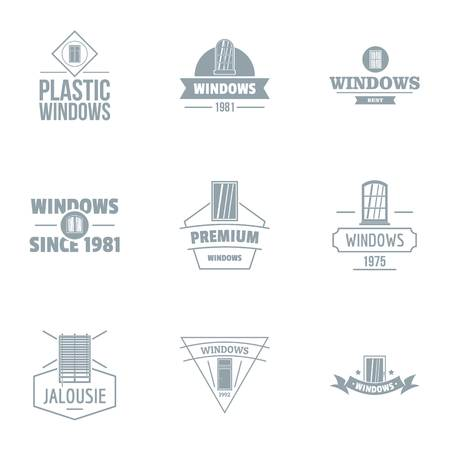 Building window logo set, simple style