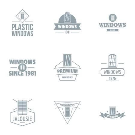 Building window logo set, simple style 写真素材 - 105735554
