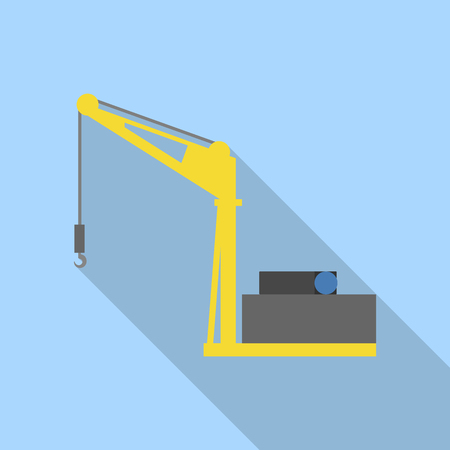 Sea port crane icon. Flat illustration of sea port crane vector icon for web design