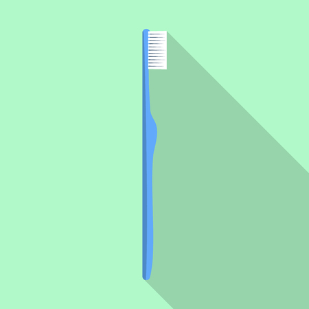 Blue kid toothbrush icon. Flat illustration of blue kid toothbrush vector icon for web design