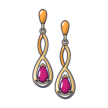 Gold ruby earrings icon. Cartoon of gold ruby earrings vector icon for web design isolated on white background