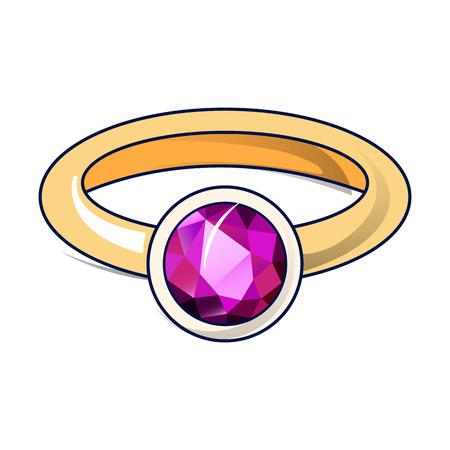 Icône de bague rubis. Caricature de l'icône vecteur anneau rubis pour la conception web isolé sur fond blanc Vecteurs