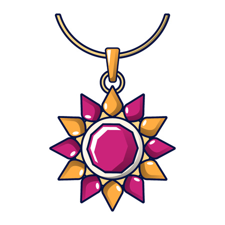 Ruby necklace icon. Cartoon of ruby necklace vector icon for web design isolated on white background